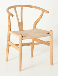Replica Hans Wegner Wishbone Chair - Natural Frame (grain visible) Natural seat - Ash Timber