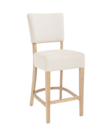 French Provincial Barstool - Natural Linen - American Oak Timber (matching dining chairs available as well)