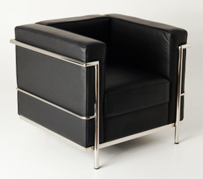 Replica Le Corbusier 1-seater-Black Premium Italian Leather with PU piping