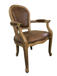 Jean-Paul Armchair - Brown 100% Premium Vintage Leather - American Oak Timber