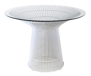Replica Warren Platner - Wire Dining Table - White Powdercoated - Glass Top - 100cm, 120cm, 140cm