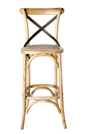 Cross Back Barstool - American Oak With Metal Backs - Various Colours