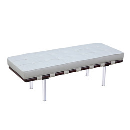 Barcelona Bench - Small in Premium White Italian Leather
