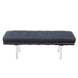 Barcelona Bench - Small in Premium Black Italian Leather