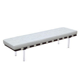 Barcelona Bench - Large in Premium White Italian Leather