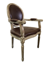 Jean-Paul Armchair with Straight Legs - Brown Leather - White-Washed Oak Timber