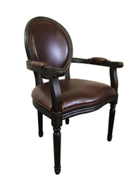 Jean-Paul Armchair with Straight Legs - Brown Leather - Burn-Black Oak Timber