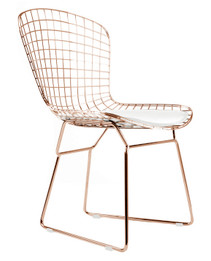 Replica Harry Bertoia Bird Chair Rose Gold Version with white or black cushion