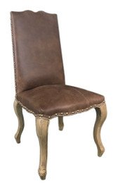 French Provincial Dining Chairs - 100% Vintage Leather - American Oak Timber