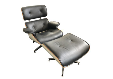 Replica Eames Lounge Chair + Ottoman - Black Italian Leather White Frame - Special Edition