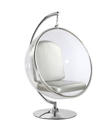 Replica Eero Aarnio Bubble Chair on Stand-White, Blue, Red or Black Fabric or Grey PU Cushion