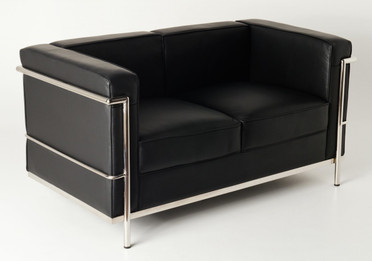 Replica Le Corbusier 2-seater-Black Premium Italian Leather with Leather piping