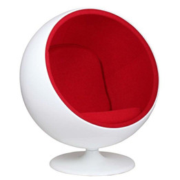Replica Ball Chair - White Fiberglass - Wool Blend Fabric in Various Colors