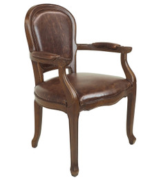 Jean-Paul Armchair - Brown Bi-Cast Leather - Walnut Timber