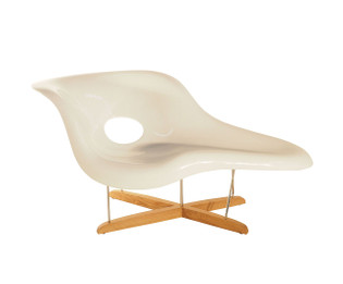 Replica Eames La-Chaise - White or Black Fibreglass with natural timber legs