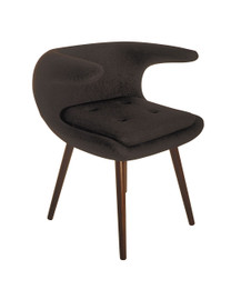 Ex Dispaly - Replica Frost Chair by Bo Strange with Black Soft Cashmere Fabric and Walnut Wood Legs - CLEARANCE