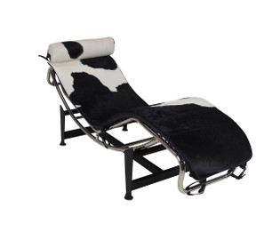 Replica Le Corbusier lounge LC4 with Black Cowhide leather + Cowhide Headrest