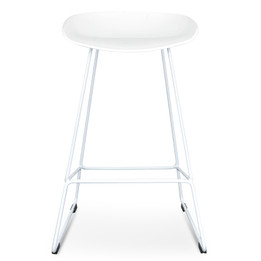 CBS2007-SD 65cm Bar Stool - white Seat With white metal Frame (cf)