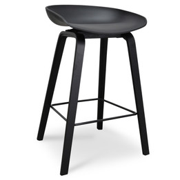 CBS2014-SD 65cm Bar Stool - Black Plastic Seat - Black Frame (cf)