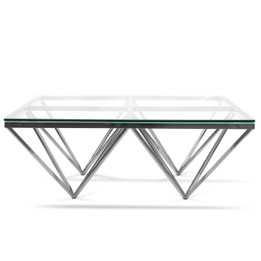 CCF1070-BS 105cm Coffee Table - Glass Top - Silver Base (cf)