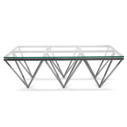 CCF1071-BS 1.2m Coffee Table - Glass Top - Silver Steel Base (cf)