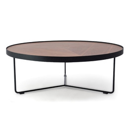CCF384-90cm Round Coffee Table - Walnut Top - Black Frame (cf)