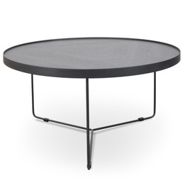 CCF391L-BB 90cm Round Coffee Table - Black Oak Top - Black Frame (cf)