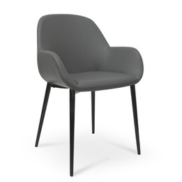CDC962-SD Dining Chair in Charcoal Grey With Black Legs (cf)