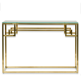 CDT2423-BS 1.15m Console Glass Table - Brushed Gold Base (cf)