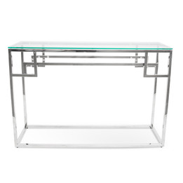 CDT2012-BS 1.15m Console Glass Table - Stainless Steel Base (cf)