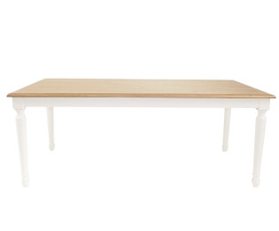American Oak Timber Dining Table with rounded white legs