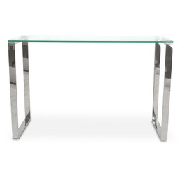 CDT2013-BS Console Table With Tempered Glass - Polished Stainless... (cf)