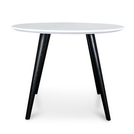 CDT222-SD 100cm Round Dining Table - White Top - Black Legs (cf)