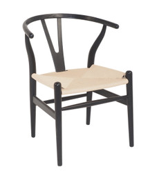 Replica Hans Wegner Wishbone Chair - Black Frame (grain visible) Natural seat - Ash Timber