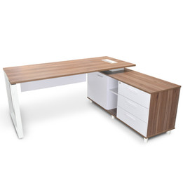COT2091-SN Executive Office Desk with Right Return - Walnut (cf)