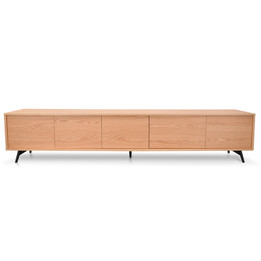 Nelson 2.4m Entertainment TV Unit - Natural - Black Legs (cf)