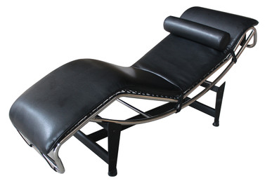 Replica Le Corbusier lounge LC4 with black Synthetic leather