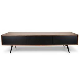 Liam 180cm TV Unit With Black Matt Drawers - Walnut (cf)