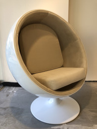 Replica Ball Chair - White Fiberglass - Premium Version in Velvet Fabric