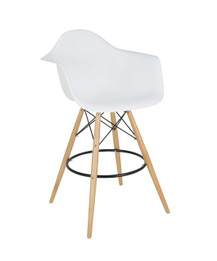 Replica Eames DAW Barstool - plastic, black steel, natural wood legs- various colours
