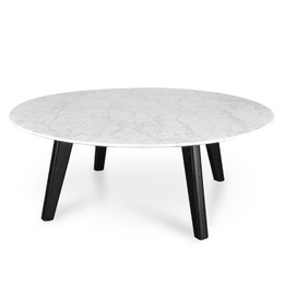 CCF2008-SD 100cm Marble Coffee Table with Black Legs (cf)