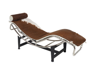 Replica Le Corbusier lounge LC4 with Brown Pony/Cowhide leather with hairy cowhide headrest