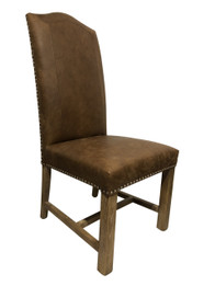 Cafe Dining Chairs - Premium Brown 100% Vintage Italian Leather with American Oak legs