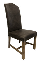 Cafe Dining Chairs - Premium 100% Grey Vintage Italian Leather with American Oak legs