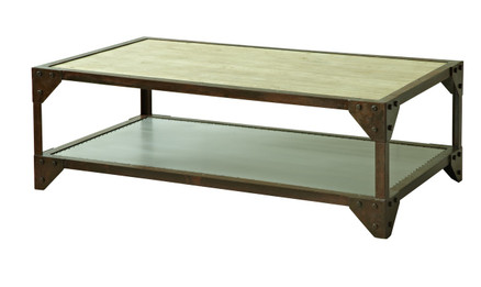 Premium Oak Top Industrial Coffee Table with metal frame & aluminium shelf