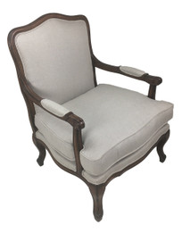 French Provincial Armchair - Natural Linen with Walnut Colour
