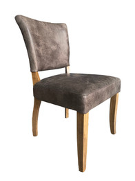 French Provincial Dining Chairs - 100% Premium Vintage Italian Leather - American Oak Timber