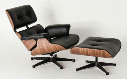 Replica Eames Lounge Chair + Ottoman - Black Leather Walnut Frame