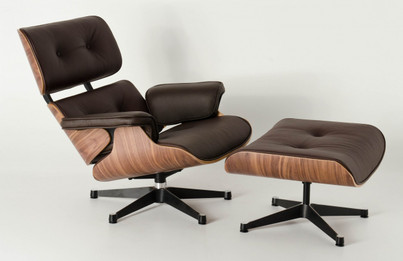 Replica Eames Lounge Chair + Ottoman - Brown Italian Leather Walnut Frame