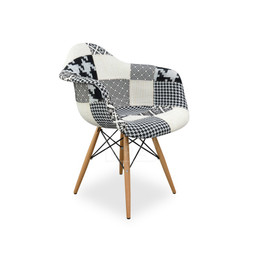 Replica Eames DAW Eiffel Armchair - black/white patchwork - plastic, black steel, natural wood legs